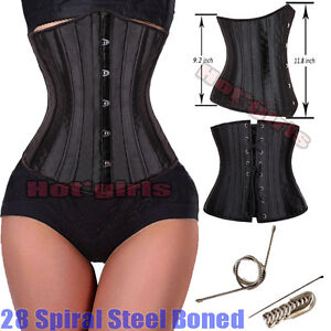 e29fa968402 28 Spiral Steel Boned Tight Lacing Underbust Waist Training Corset ...