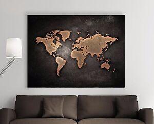 xxl bild 140x95x5 loft design leinwand weltkarte auf metall gem lde premi r neu ebay. Black Bedroom Furniture Sets. Home Design Ideas