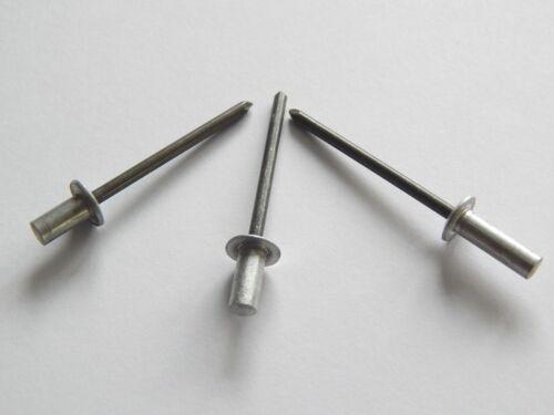 100 remaches ciegos popnieten Cup-alu//acero 3,2x8 mm tachuelas aire-e impermeable Cap