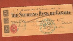 The Sterling Bank of Canada (Goderich Ontaio) Year 1923
