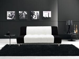 Divano Nero E Bianco : Divano letto posti reclinabile salotto microfibra bianco e nero