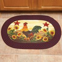 Oval Braided Rug Country Theme Sunflowers Rooster Decor Kitchen Or Entryway Mat