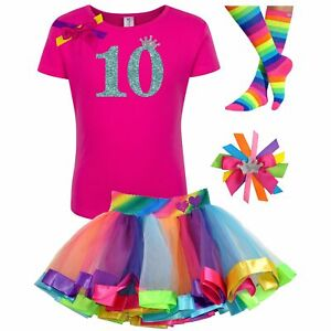 10th Birthday Outfit Shimmer Glow Rainbow Tutu Skirt Girls Personalized Shirt 10
