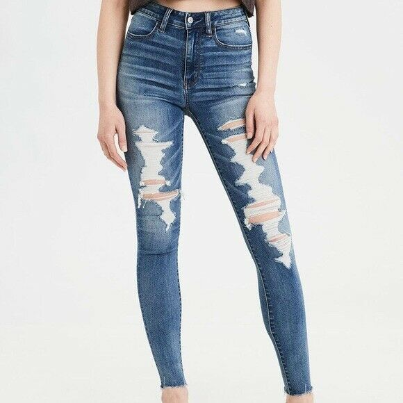 AMERICAN EAGLE SUPER HI RISE JEGGING RIPPED DISTRESSED JEANS SIZE 2 SHORT NEW!