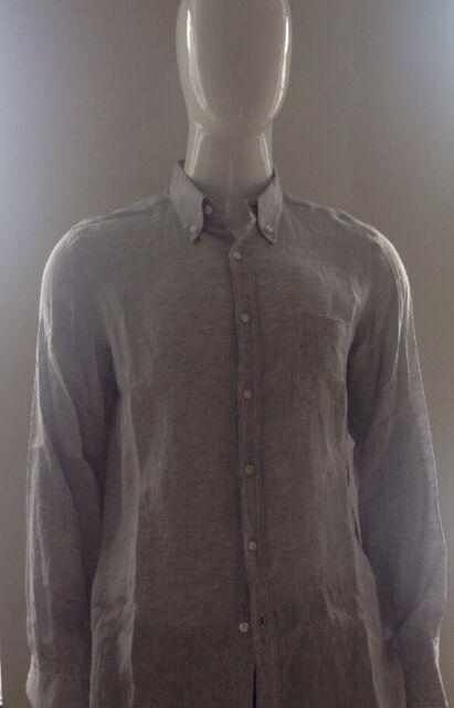 Les Copains Men's Gray Linen Button Down Shirt Size 41/16
