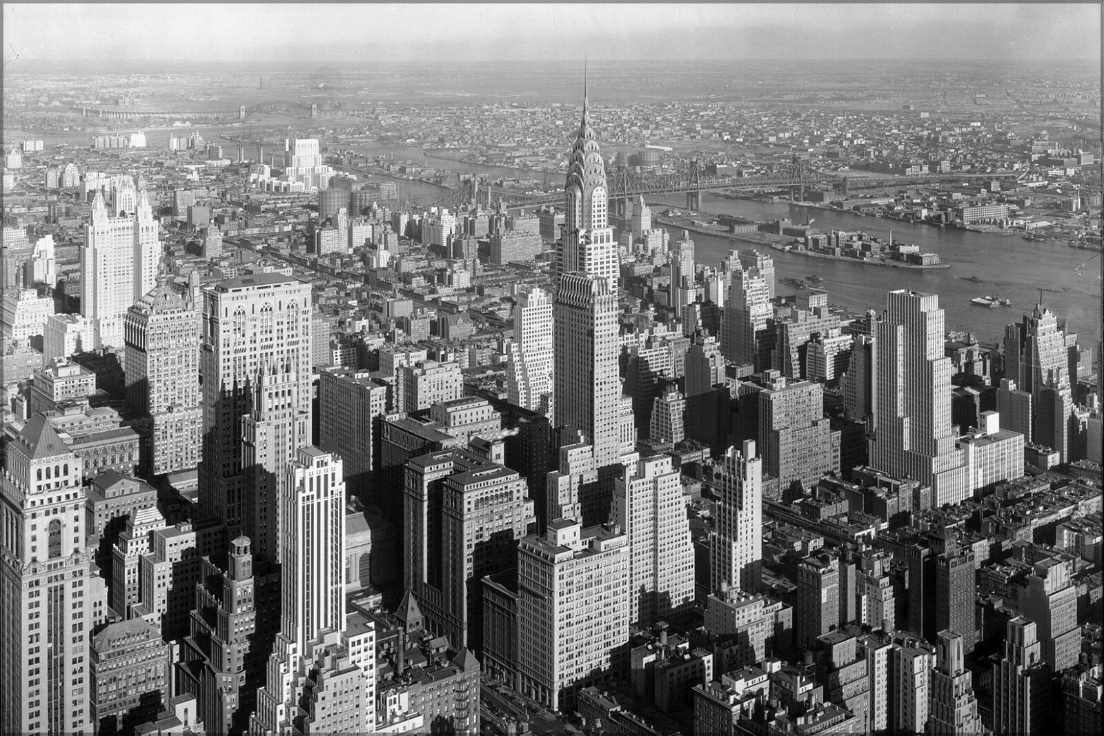 Poster, Many Größes; Chrysler Building And QueensbGold Bridge From Empire State Bl