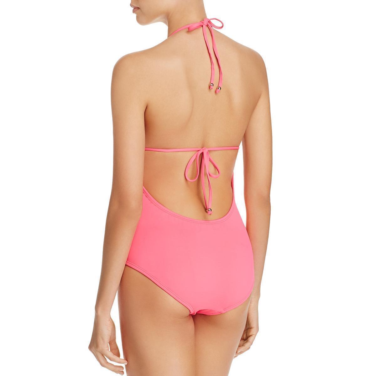 7499173f7f8971 Shoshanna Fuchsia Lattice Ruffle Halter One Piece Swimsuit 4 for ...