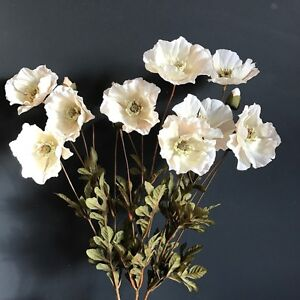 Bunch Of Cream White Faux Silk Poppies Artificial Wild Meadow Poppy