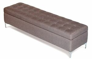 Modern Buttonless Tufted Pewter Gray Fabric Storage Bench, Ottoman - Bed Chest