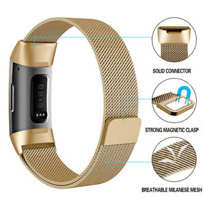 Details About New Milanese Loop Replacement Magnetic Steel Gold Band For Fitbit Charge 2