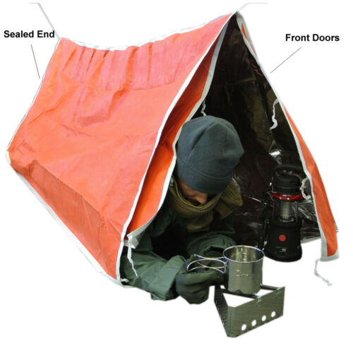Two Person With Doors Reflects Heat Reflective Survival /& Emergency Tent