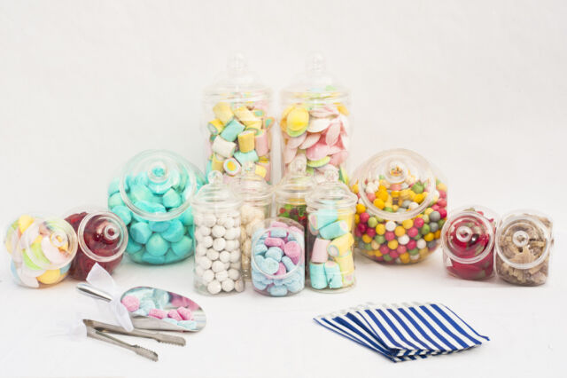 x10 Plastic Sweet Jars Large Kit - Tongs Scoops Bags Candy Buffet Party Wedding