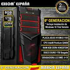 ORDENADOR GAMING INTEL G4400 8GB RAM DDR4 1TB USB3.0 PC SOBREMESA MARCA ESPAÑA