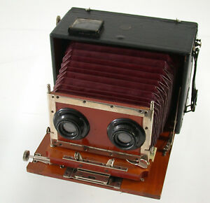 ERNEMANN-Stereo-Kamera-camera-Holz-wooden-red-bellows-F6-120mm-Doppel-Anastigmat