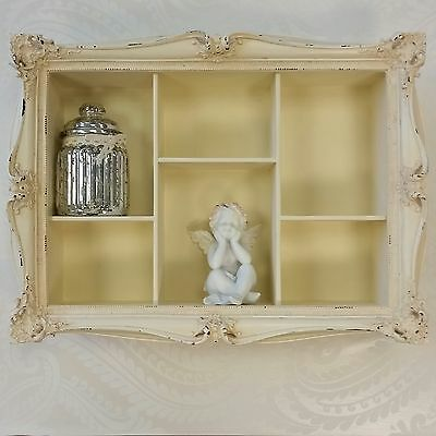 Cream Wall Hanging Shelf Display Unit French Shabby Chic Vintage Style