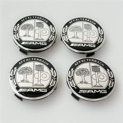 4X Mercedes Benz Wheel Center Caps Black Color Affalterbach 75mm AMG