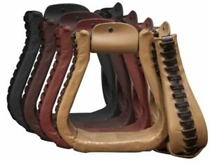 Showman Leather Covered Western Roper Style Stirrups