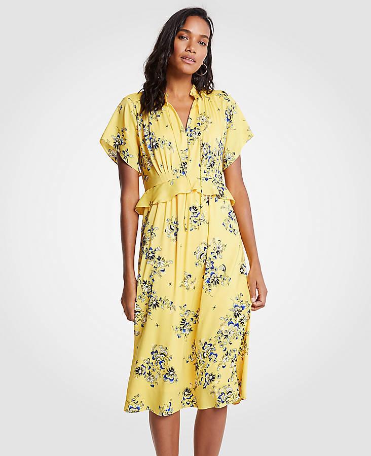 Ann Taylor - Petite 0P Sunny Day Gelb Boho Floral Midi Kleid (U92)