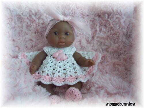 "ADORABLE PINK BUNNY BUTTON DRESS FITS 5/"" BERENGUER BABY REBORN OOAK !"