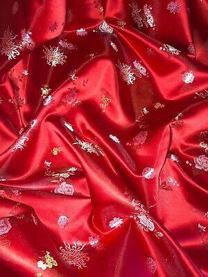 "1 mtr red//black meddalion oriental chinese brocade fabric..45"" wide 114cm"