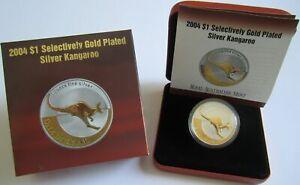 Australien 1 Dollar 2004 Kangaroo / Känguru Gilded 1 Oz Silber Delikatessen Von Allen Geliebt