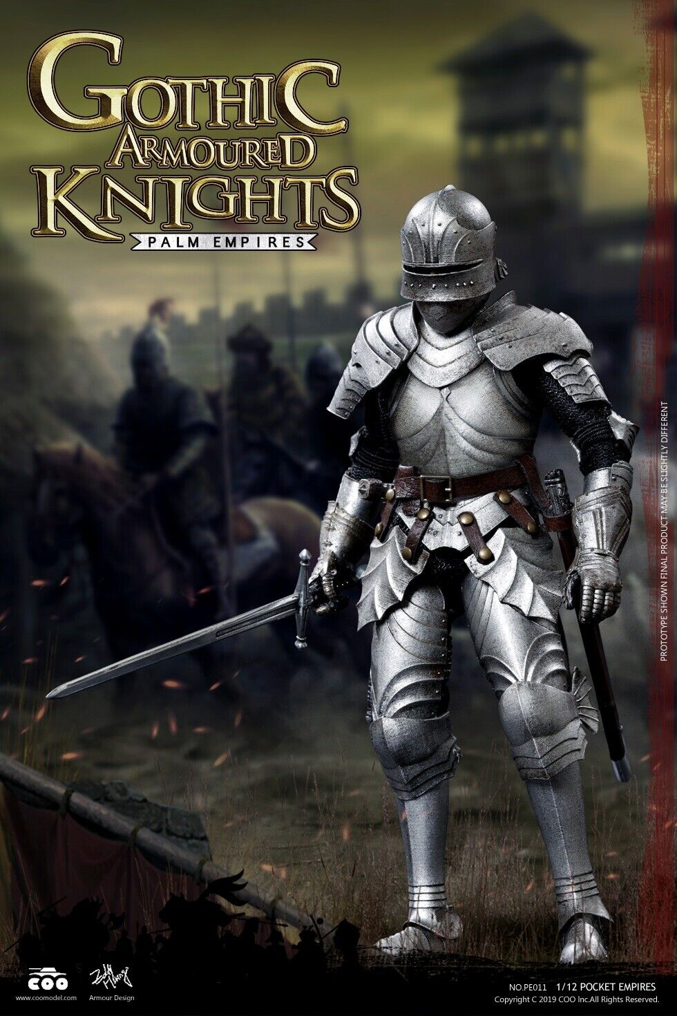 COOModelll PE011 POCKET EMPIRES Warrior GOTHIC ARMGoldt KNIGHT 1 12 Figure