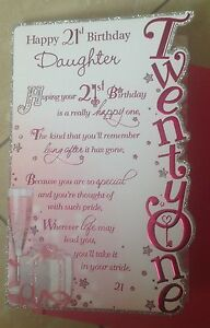 Image Is Loading Daughter Birthday 21st Card With Glitter And Sentiment