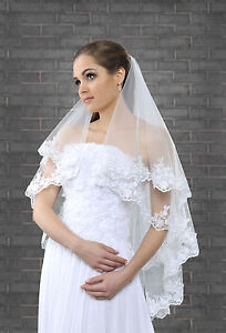 New-Womens-2-Tier-White-Ivory-Wedding-Bridal-Veil-Lace-Edge-With-Silver-Thread