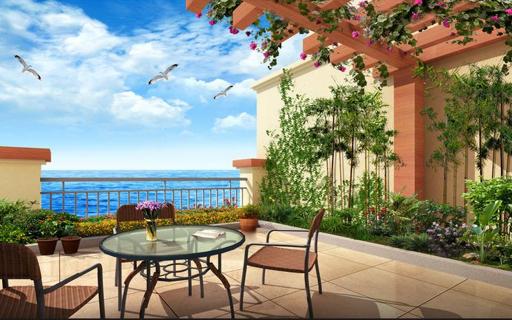 3D Villa Balkon 7533 Tapete Wandgemälde Tapete Tapeten Tapeten Tapeten Bild Familie DE Summer  | Qualität  | Moderater Preis  | eine breite Palette von Produkten  950a26