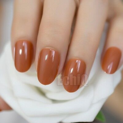 Light Brown Creme Full Fake Nails Oval Short Uv Gel Shiny Nail Art Tips Full Ebay