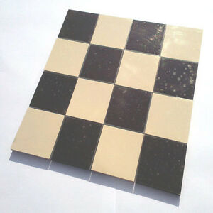 Victorian reproduction floor tiles on sheet - black & white 70mm ...