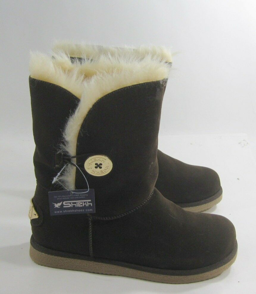 Dark Brown Winter Comfortable Flat Ankle Boot Fur Inside gold Button Size 10