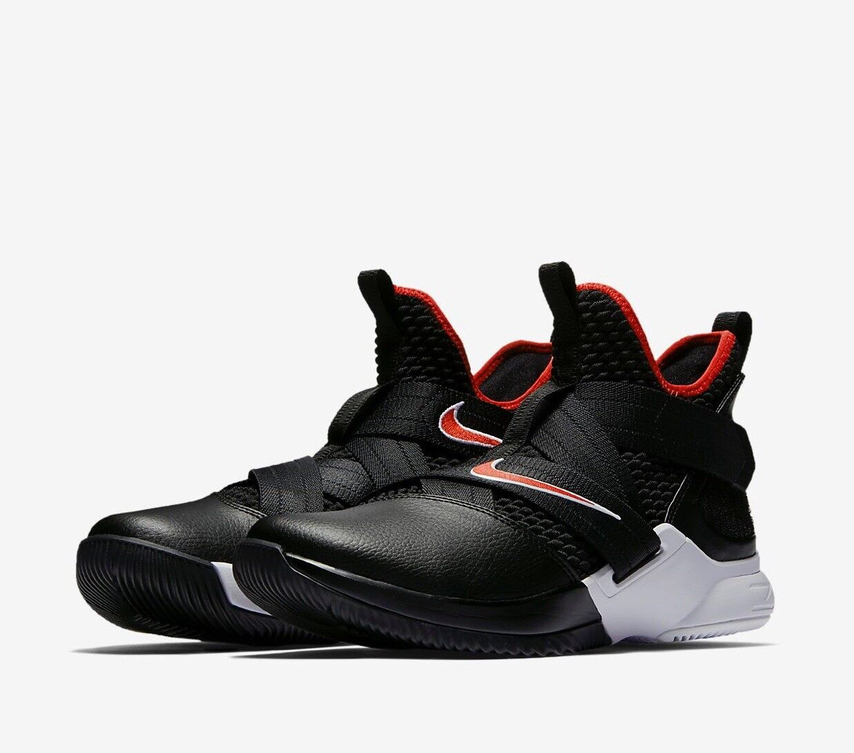 Nike Lebron James Soldier XII 12 Bred Black White and University Red AO2609-001 Special limited time