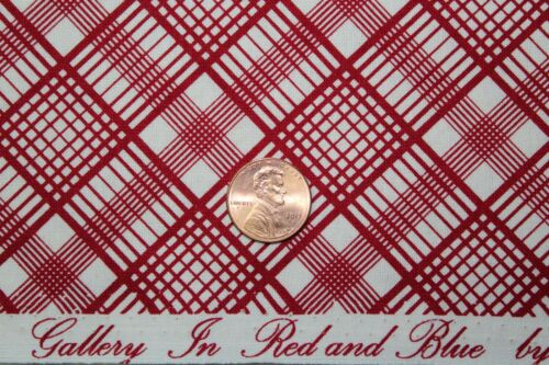 """B /""""GALLERY IN RED AND BLUE/"""" REPRODUCTION QUILT FABRIC BTY MARCUS 0270-0111"""