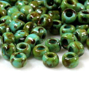 TOHO-Seed-Beads-Size-6-0-Hybrid-Green-Turquoise-w-Picasso-Finish-10-Grams