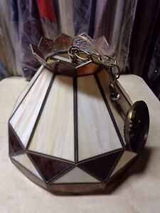 Details About Vintage Slag Glass Stained Glass Hanging Lamp Shade