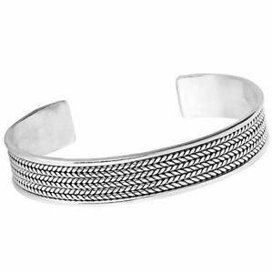 Stunning-Solid-925-Sterling-Silver-Bangle-Bracelet-Mens-silver-cuff-bangle