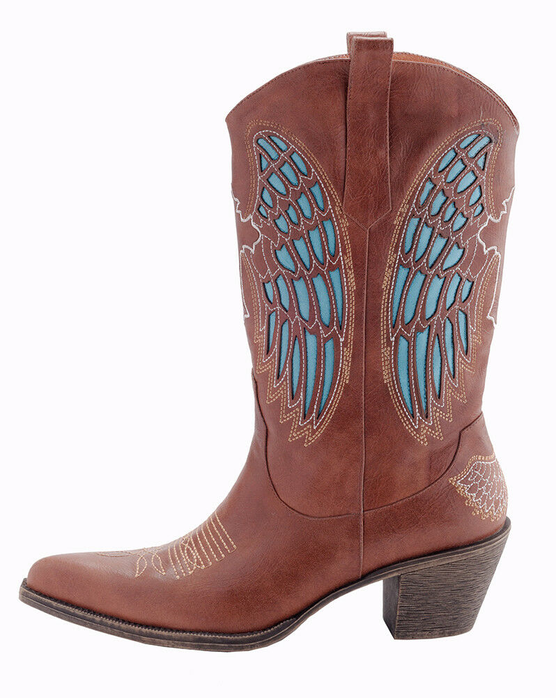 Angel Wing Leather Boots, Size 10, Brown Leather Cowboy Boots, Leather Boots