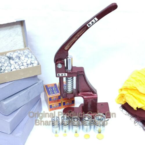 Manual Hand Press Machine Fabric Cover Button With 5 Dies and Free Buttons Craft