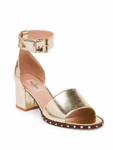a5350e5f397 Image is loading Valentino-Garvani-Soul-Rockstud-Metallic-Leather-Ankle- Strap-