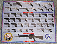 VINTAGE 1996 COLT FIREARMS GUNS ADVERTISING SIGN POSTER ~ HUNTING SHOOTING GUN