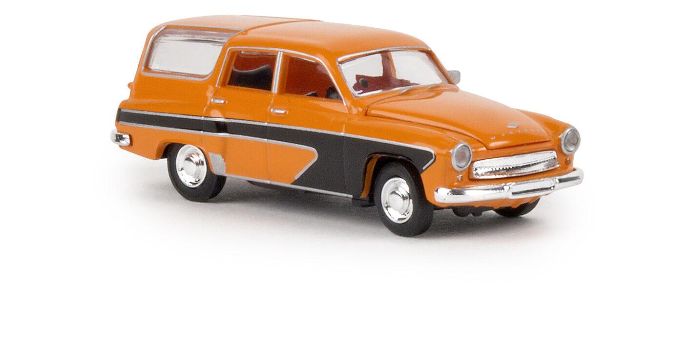 Wartburg 311 camping orange black, H0 auto Modell 1 87, Brekina 27116, td