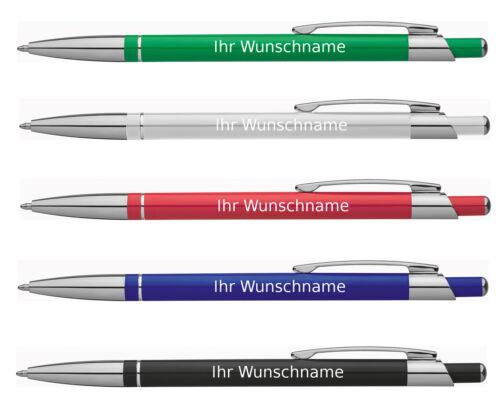 slimline aus Metall 5 Kugelschreiber mit Gravur 5 verschiedene Farben