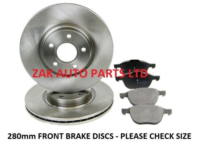 Brake Discs 280mm Solid Ford Focus C-Max 1.8 TDCi 2.0 2.0 TDCi Rear Brake Pads