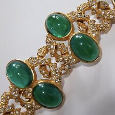 VINTAGE KENNETH JAY LANE GOLD PLATE EMERALD GLASS RHINESTONE CHOKER NECKLACE