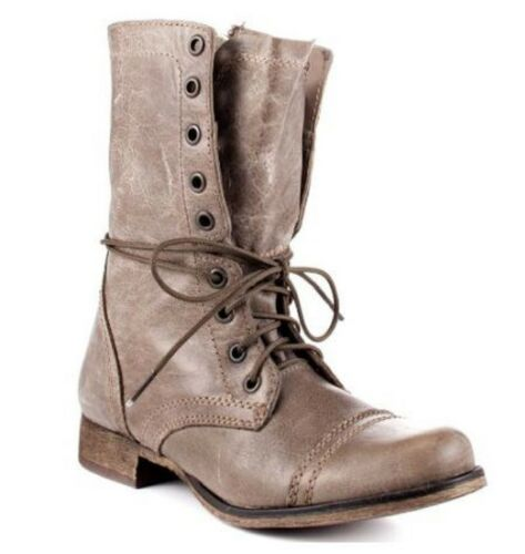 Women/'s Shoes Steve Madden TROPA 2 Ankle Boots Leather Stone Gray
