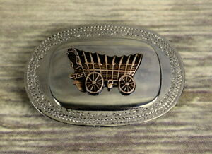 Covered-Wagon-Belt-Buckle-Silver-Bronze-Color-Old-West-Western-Cowboy-Vintage