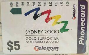 2-x-1993-Telecom-Aust-Sydney-2000-5-Phone-Cards-Mint-Unused-Original-Invoice