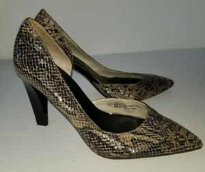 3e84abe5426 Details about Mossimo black gray snakeskin fabric black lacquer heel pump.  8 NWOB