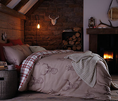Catherine Lansfield Stag Natural Red Tartan Cotton Rich Duvet Cover Set